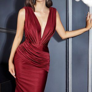 Pleated Deep V-Neck Sheath Prom Dress CD912